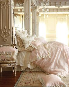 Pink and white bedding <3