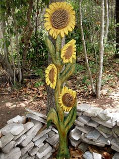 Sunflower 5ft  chainsaw heart of pine by oceanarts10 on Etsy, $195.00
