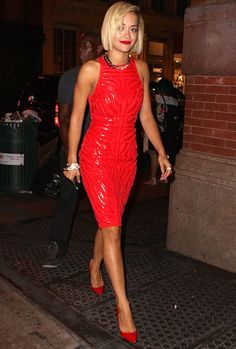 Rita Ora's Rock Star After-Party Style - NYTimes.com Versace dress, Chanel bracelet, Christian Louboutin shoes