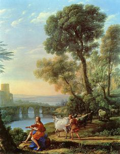 [Baroque]] Landscape with Apollo Guarding the Herds of Admetus and Mercury stealing them by Claude Lorrain, 1645