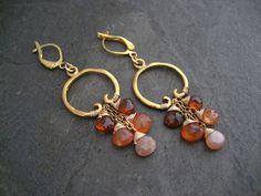 Carnelian earrings ombre dangle spessartine dangle by ElfiRoose