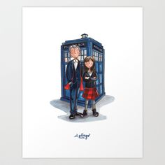 The Doctor & Clara Art Print by marianouuu - $17.00