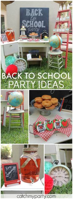 Almost time for back to school! Check out this party! See more party ideas at Catchmyparty.com!