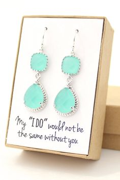 Mint Green / Silver Long Rope Rim Earrings  Mint by ForTheMaids