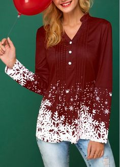 Snowflake Print Button Detail Pleated Wine Red Christmas Blouse | modlily.com - USD $26.69