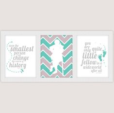"""Set of 3 Hobbit Lord of the Rings Tolkien Nursery Printable Art """"Even the smallest person can change the course of history"""" """"You are only quite a little fellow in a wide world after all"""" Bilbo, Frodo, Baggins, Gandalf, Teal, Turquoise, Aqua, Grey, Gray, White by AveryWorkDesign"""