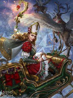 Legend of the Cryptids - Yule Queen Lalanoel adv. by Laura Sava Fantasy Women, Fantasy Girl, Fantasy Illustration, Digital Illustration, Yule, Mystique, 5d Diamond Painting, Fantasy Warrior, Drawing Skills