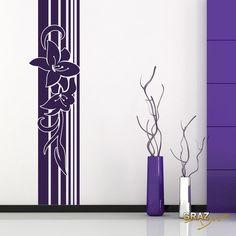 Fresh Wandtattoo Wandaufkleber Wandbanner Lilien mit Linien Wohnzimmer