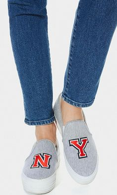 This couture-meets-street sneaker combines the trending slip-on shape with red varsity letters for a shout-out to the city you love.