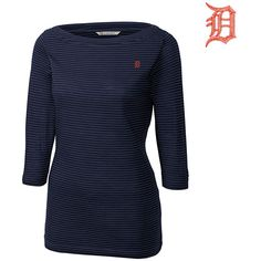 Detroit Tigers Women's 3/4 Sleeve Holly Park Tonal Stripe Knit by Cutter & Buck - MLB.com Shop