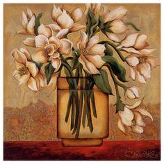 White Autumn Magnolias Art Print