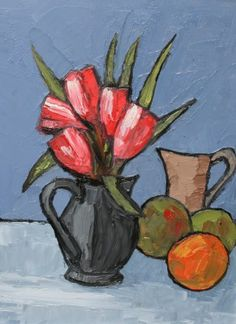 Tulips and Fruits by David Barnes, oil, 16 x 12 inches | Red Rag Gallery