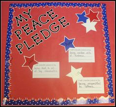 Have students write how they plan to spread peace on a small piece of paper, and attach a Patriotic Stars Cut-Out with the student's name on it. Use CTP's Dot-to-Dot Letters and Red, White, & Blue Border to create a display. Library Activities, Teaching Activities, Teaching Kids, Student Teaching, Future Classroom, Classroom Themes, Classroom Design, 9 11 For Kids, Remembrance Day Art