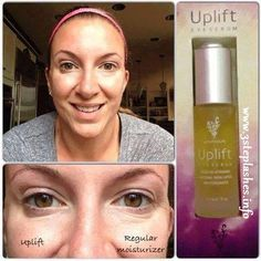 Uplift Eye Serum, which minimizes fine lines and wrinkles around your eyes, as well as erasing those dark under eye circles (you know what I'm talking about for all of us sleep deprived ladies)!! So simple, so effective, so cost efficient! www.3steplashes.info