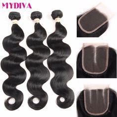 8A Brazilian Virgin Hair with Closure 3 Bundles With Closure Brazilian Body Wave With Closure HC Human Hair With Closure