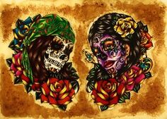Sugar skull flash sheet by Nevermore-Ink