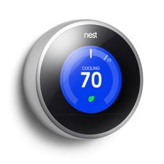Nest Learning Thermostat. This thing is cool. It programs itself based on your behavior and climate preferences. It'll turn itself down when you leave the house and back up when you come home. Plus, it connects to wi-fi, so you can change it from your smartphone or laptop. Sweet!