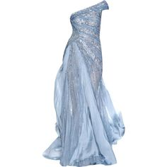 Jack Guisso - edited by mlleemilee ❤ liked on Polyvore featuring dresses, gowns, long dresses, vestidos, blue, blue evening gown, blue ball gown, blue evening dress and blue dress