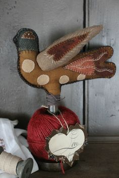 Wooly Bird Pin Cushion www.rebekahlsmith.com