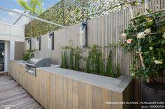 Pergola Above Garage Door Outdoor Bbq Kitchen, Outdoor Barbeque, Outdoor Kitchen Design, Outdoor Fire, Garden Pool, Terrace Garden, Outdoor Rooms, Outdoor Living, Outdoor Decor