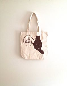 Brown Cat Canvas tote bag gift for cat lover by TheFelineBoutique