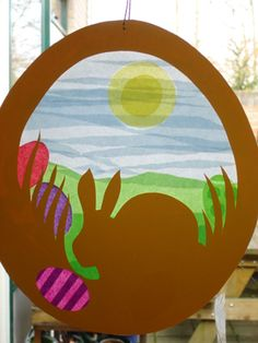easter bunny tissue paper window sun catcher