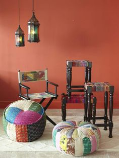 Patchwork designs balance crazy colors with global style