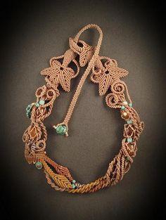 Perline collana di gioielli macrame con agata - memoria di inizio autunno