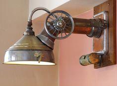 Industrial assemblage light at U Bulinu, a restaurant in Prague