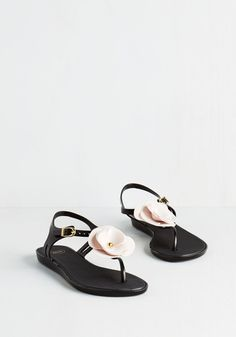 Legion of Bloom Sandal by Mel Shoes - Flat, Black, Pink, Solid, Flower, Casual, Beach/Resort, Darling, Spring, Summer, Better, Slingback