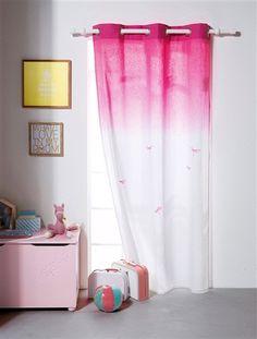 cortina de lino con efecto tye and die tema damiselas blanco medio
