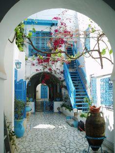 Blue village in Sidi Bou Said - Tunis, Tunisia