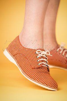 e254101ec69 60s Derby Polkadot Dream Shoes in Tangerine