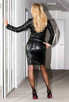 Garter Bumps Under Tight Black Leather Pencil Skirt Black Leather Jacket Sheer Black Stockings and Black Stiletto High Heels