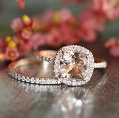 14k Rose Gold Wedding Set Morganite Engagement Ring and Half Eternity Diamond Wedding Band 8x8mm Cushion Cut Pink Peach Morganite Ring by LaMoreDesign on Etsy https://www.etsy.com/listing/216830893/14k-rose-gold-wedding-set-morganite