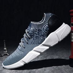 Men Strech Flyknit Fabric Breathable Light Running Shoes Sport Casual  Sneakers is fashionable and cheap, buy best sneakers for plantar fasciitis  for ...