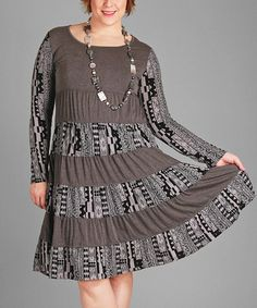 Loving this Gray & Black Geometric Empire-Waist Dress - Plus on #zulily! #zulilyfinds