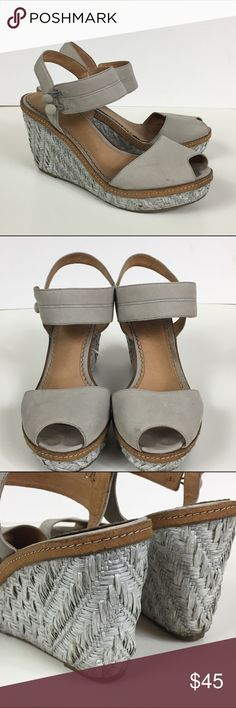 Miss Albright Neutral Suede & Wicker Wedges Anthro Perfectly lady like wedges from Anthropolgie. Used and they show a few minor spots on the leather and the wicker. Toe imprints on the footbed. No trades, no PayPal Anthropologie Shoes Sandals