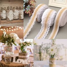 2M/lot Natural Jute Burlap rolls Hessian Lace Ribbon With White Lace Trim Edge Rustic Wedding Centerpieces Vintage Wedding Decor