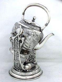 Victorian Aesthetic 1879 Japanese Meriden Silver Quadruple Tilting Tea Pot 98oz | eBay