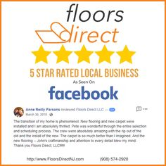 This is a stellar 5 star Facebook review for Floors Direct LLC in New Jersey. Home Carpet, New Carpet, Flooring Store, Carpet Flooring, Floors Direct, Giving Quotes, Removing Carpet, Flooring Companies, Home Repairs