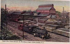 Old post card of Taylor Brothers Grain Elevator and Warehouse in Camden, NJ.