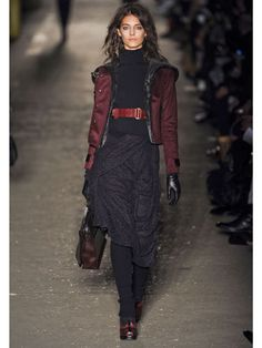 Burgundy | Per usual, David Neville and Marcus Wainwright made the concept of layering look like fine art. We loved the sangria-hued jacket and how all of the model's accessories were perfectly at home in the same color family.