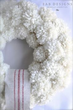 DIY Pom Pom Wreath & Garland Tutorial Anthropologie Inspired DIY Pom Pom Wreath Tutorial by www.Anthropologie Inspired DIY Pom Pom Wreath Tutorial by www. Crafts For Teens To Make, Winter Crafts For Kids, Diy And Crafts, Spring Crafts, Holiday Wreaths, Holiday Crafts, Christmas Crafts, White Christmas, Christmas Ideas