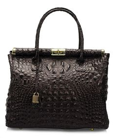 Take a look at this Lisa Minardi Black Croc-Embossed Leather Satchel today!
