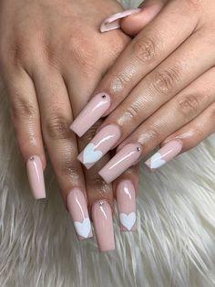 Lovely Valentine's Day Nail Ideas * 2020 - Elegant Life French Nail Designs, Beautiful Nail Designs, Cool Nail Designs, Toe Nail Art, Toe Nails, Acrylic Nails, Long Gel Nails, Ballerina Nails, Heart Nails