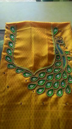 Sum other works Peacock Blouse Designs, Wedding Saree Blouse Designs, Best Blouse Designs, Simple Blouse Designs, Blouse Neck Designs, Patch Work Blouse Designs, Embroidery Neck Designs, Embroidery Works, Maggam Work Designs