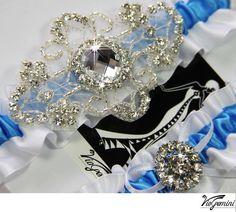 Bridal garter set/ luxury wedding garter set/ bridal by VioGemini, $39.99 - Icy Blue for a Winter Wedding - Winter Wedding Ideas - www.viogemini.com