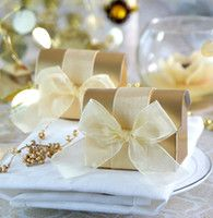 Wholesale 100pcs Golden Treasure Chest Box Favors with Organza Ribbon candy…