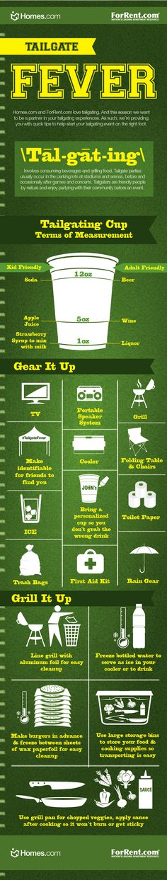 Tailgate Fever Tips - We know you're a tailgating pro but just in case you need a little reminder, we have created a Tailgating Infographic full of fun prep and grilling tips! See you at the game! College Gameday Signs, College Games, College Game Days, Football Tailgate, Tailgate Food, Football Season, Tailgating Ideas, Football Banquet, Game Day Quotes